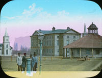 Colour lantern slide - Colonial Building from Hughes Corner, ca. 1860s
